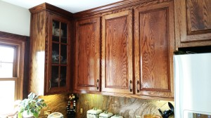 Oak Cabinet 2 - English Chestnut Stain - Wall cabs - glass door